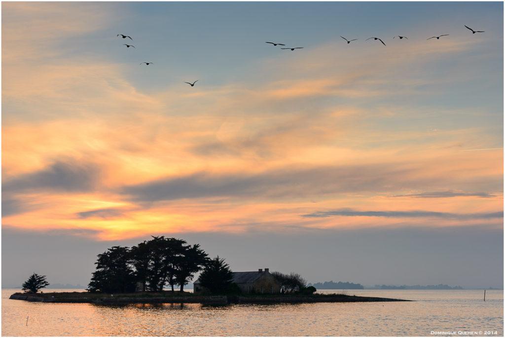 Couché de soleil sur le golfe du Morbihan